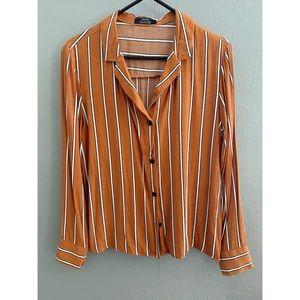 Bershka Orange Striped Blouse